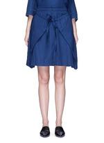 'Zoe' front wrap cotton-tencel skirt