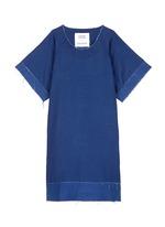 Frayed edge cotton-tencel unisex dress