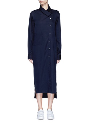 Main View - Click To Enlarge - FFIXXED STUDIOS - 'Boundary' asymmetric button midi shirt dress