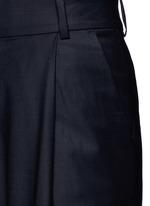 Pleated wide leg wool blend trousers
