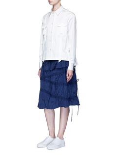 Angel ChenPleated hem grosgrain ribbon utility shirt