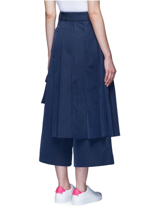 Back View - Click To Enlarge - Angel Chen - 'Kendo' pleated wrap front wide leg trousers