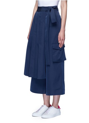 Front View - Click To Enlarge - Angel Chen - 'Kendo' pleated wrap front wide leg trousers