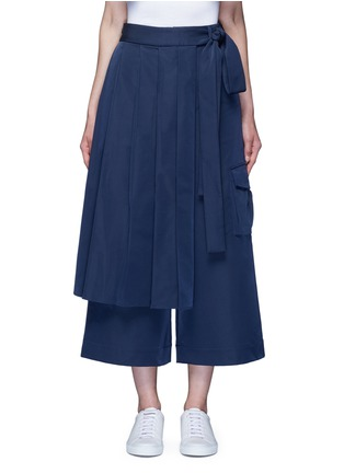Main View - Click To Enlarge - Angel Chen - 'Kendo' pleated wrap front wide leg trousers