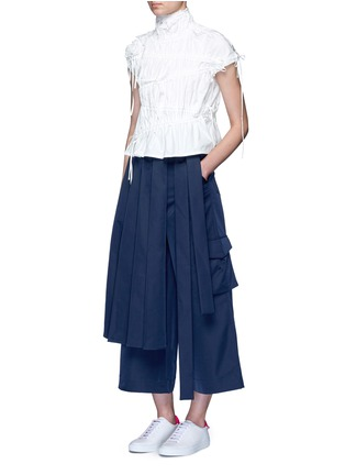 Figure View - Click To Enlarge - Angel Chen - 'Kendo' pleated wrap front wide leg trousers