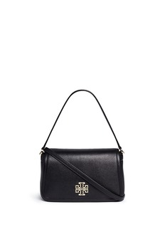 TORY BURCH 'Britten' cutout logo pebbled leather shoulder bag