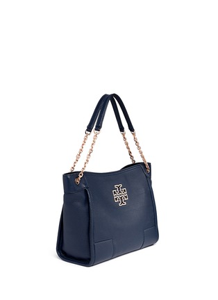 Front View - Click To Enlarge - Tory Burch - 'Britten' small pebbled leather chain tote