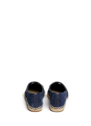 Back View - Click To Enlarge - Tory Burch - 'Sidney' cutout leather logo suede espadrilles