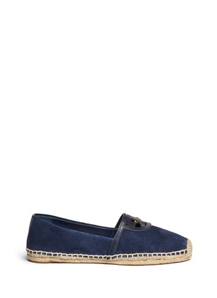 Main View - Click To Enlarge - Tory Burch - 'Sidney' cutout leather logo suede espadrilles