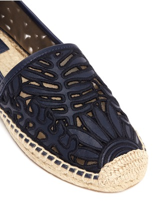 Detail View - Click To Enlarge - Tory Burch - 'Lilium' floral embroidered leather espadrille slip-ons
