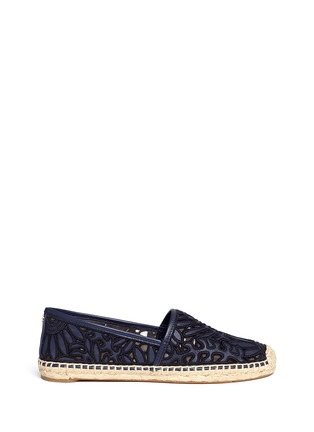 Main View - Click To Enlarge - Tory Burch - 'Lilium' floral embroidered leather espadrille slip-ons