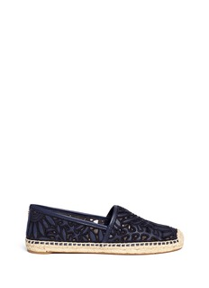 Tory Burch 'Lilium' floral embroidered leather espadrille slip-ons