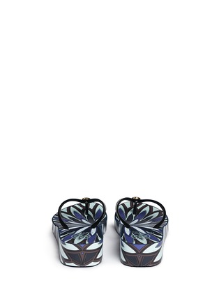Back View - Click To Enlarge - Tory Burch - 'Thandie' floral print wedge flip flops