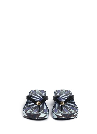 Front View - Click To Enlarge - Tory Burch - 'Thandie' floral print wedge flip flops