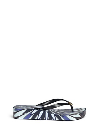 Main View - Click To Enlarge - Tory Burch - 'Thandie' floral print wedge flip flops