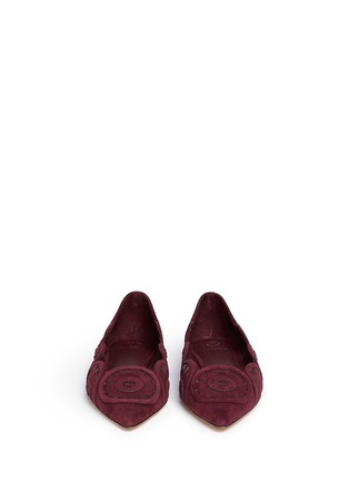 Front View - Click To Enlarge - Tory Burch - 'Leyla' floral lasercut suede flats