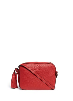 Main View - Click To Enlarge - Tory Burch - 'Thea' pebbled leather crossbody tassel bag