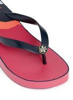 'Thandie' print wedge flip flops