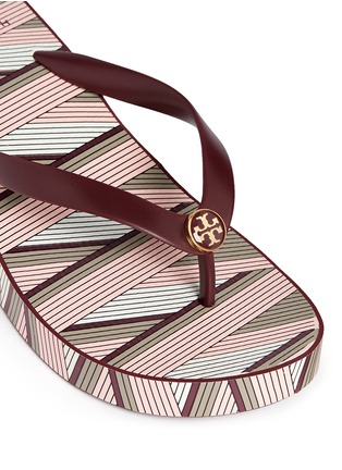 Detail View - Click To Enlarge - Tory Burch - 'Thandie' print wedge flip flops