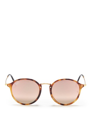 Main View - Click To Enlarge - Ray-Ban - 'Round Fleck Flash' tortoiseshell acetate mirror sunglasses