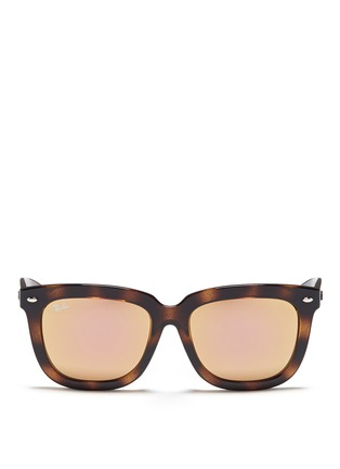 Main View - Click To Enlarge - Ray-Ban - 'RB4262' square tortoiseshell acetate mirror sunglasses
