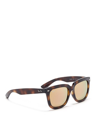 Figure View - Click To Enlarge - Ray-Ban - 'RB4262' square tortoiseshell acetate mirror sunglasses