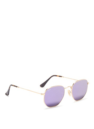 Figure View - Click To Enlarge - Ray-Ban - 'RB3548' metal hexagonal mirror sunglasses