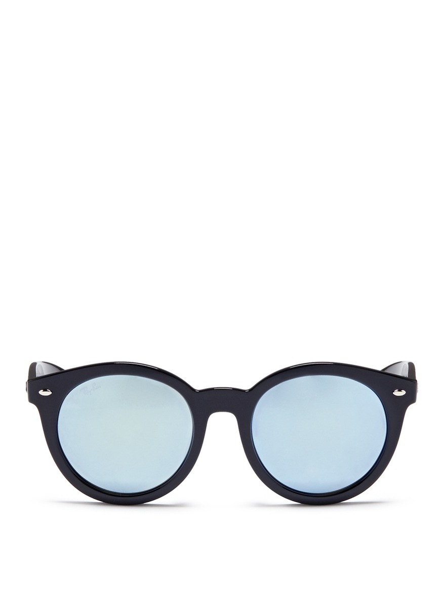 rayban female rb4261 round acetate mirror sunglasses