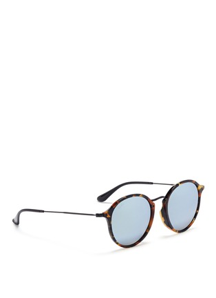 Figure View - Click To Enlarge - Ray-Ban - 'Round Fleck Flash' tortoiseshell acetate mirror sunglasses