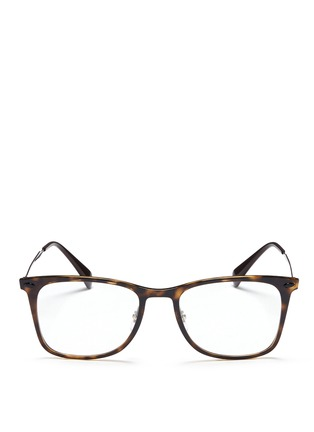 Main View - Click To Enlarge - Ray-Ban - 'RX7086 Light Ray' titanium temple tortoiseshell optical glasses