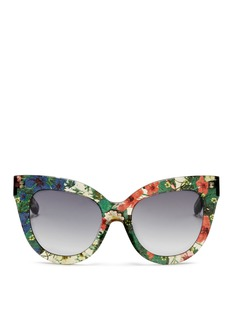 LINDA FARROW DESIGNERS COLLECTION x Erdem floral garden print acetate cat eye sunglasses