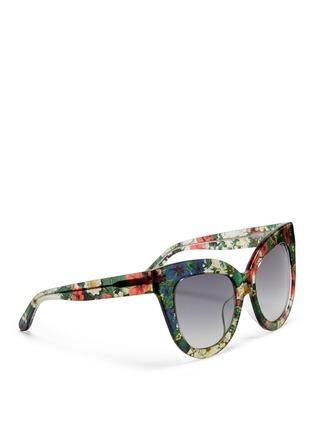 Figure View - Click To Enlarge - Linda Farrow Designers Collection - x Erdem floral garden print acetate cat eye sunglasses