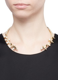 JOOMI LIM'Love Thorn' faux pearl spike torque necklace