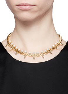 JOOMI LIM'Love Thorn' faux pearl spike chain necklace