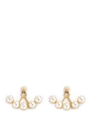 Main View - Click To Enlarge - Joomi Lim - 'Love Thorn' faux pearl spike stud deco earrings