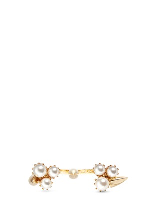 Figure View - Click To Enlarge - Joomi Lim - 'Love Thorn' faux pearl two finger ring