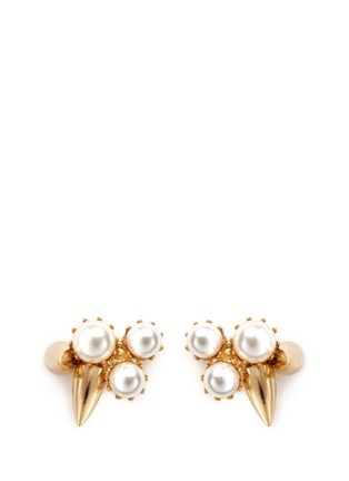Joomi Lim-'Love Thorn' faux pearl spike stud earrings