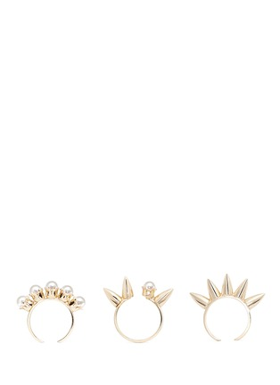 Main View - Click To Enlarge - Joomi Lim - 'Love Thorn' faux pearl spike three ring set