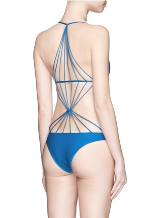 Back View - Click To Enlarge - Mikoh - 'Seychelles' webbed strappy swimsuit