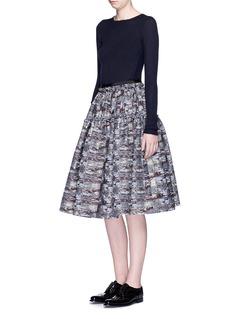JOURDENAbstract metallic jacquard flare midi skirt