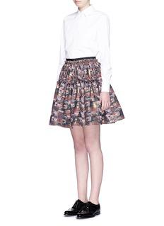 JOURDENAbstract metallic jacquard flare mini skirt