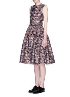JOURDENAbstract metallic jacquard midi dress