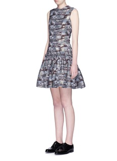JOURDEN Abstract metallic jacquard drop waist dress