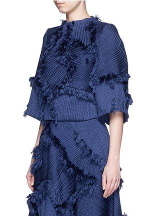 Front View - Click To Enlarge - Xu Zhi - 'Braid' frayed trim boxy top
