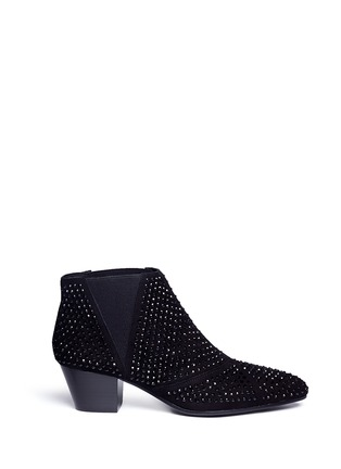 Main View - Click To Enlarge - Ash - 'Hypnotic' crystal suede booties
