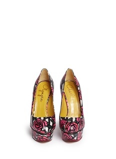 CHARLOTTE OLYMPIA 'Dolly' stripe rose print leather platform pumps