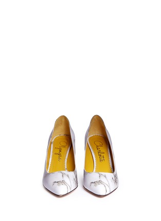 Figure View - Click To Enlarge - Charlotte Olympia - 'Vendome' marble print leather pumps