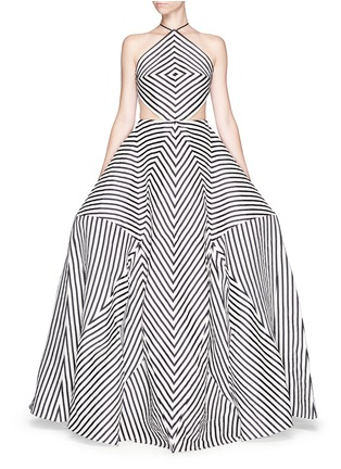 Main View - Click To Enlarge - Rosie Assoulin - 'La Scarpa' cutout stripe organza gown