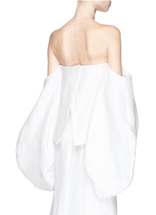Back View - Click To Enlarge - Rosie Assoulin - 'Fig' wavy silk blouson sleeve strapless bustier top