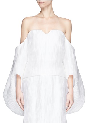 Main View - Click To Enlarge - Rosie Assoulin - 'Fig' wavy silk blouson sleeve strapless bustier top